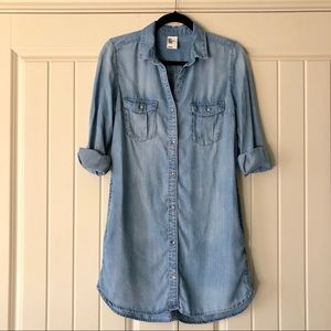 H&M Denim Chambray Long Button Down Shirt Dress